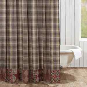 DAWSON-STAR-Patchwork-Shower-Curtain-Plaid-Brown-Primitive-Rustic-Lodge-Cabin