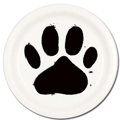 Puppy Dog Paw Prints Supplies WHITE DESSERT CAKE PLATES
