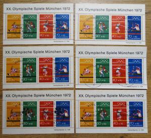 6-x-Bund-Block-8-gestempelt-verschiedene-Sonderstempel-BRD-734-737-Olympiade