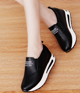Women Round Toe High Hidden Muffin Heels Platform Sneaker Casual Sport Shoes
