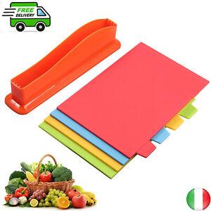 4PCS Taglieri Cucina Set in Plastica,Tagliere da Cucina Antiscivolo AntiGraffio
