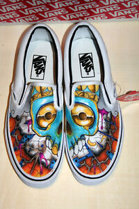 Scarpe Vans Painted Slip On Zombie Skull Teschi Teschio Skulls Walking Dead 2017