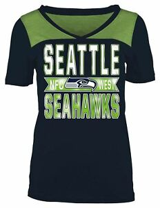 b1ba1430b0 Seattle Seahawks T-Shirt Women s NFL V-Neck Short Sleeve Crossover ...