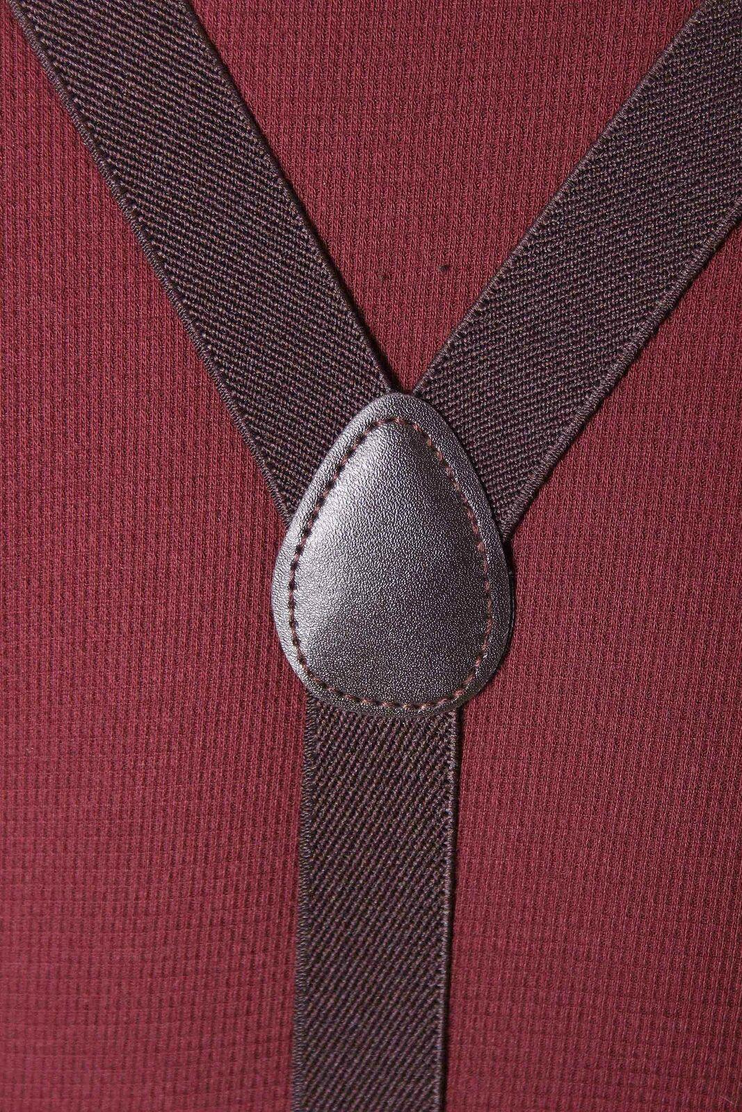 Unisex retro Rockabilly Plain einfarbig Suspenders Hosenträger m. Clips