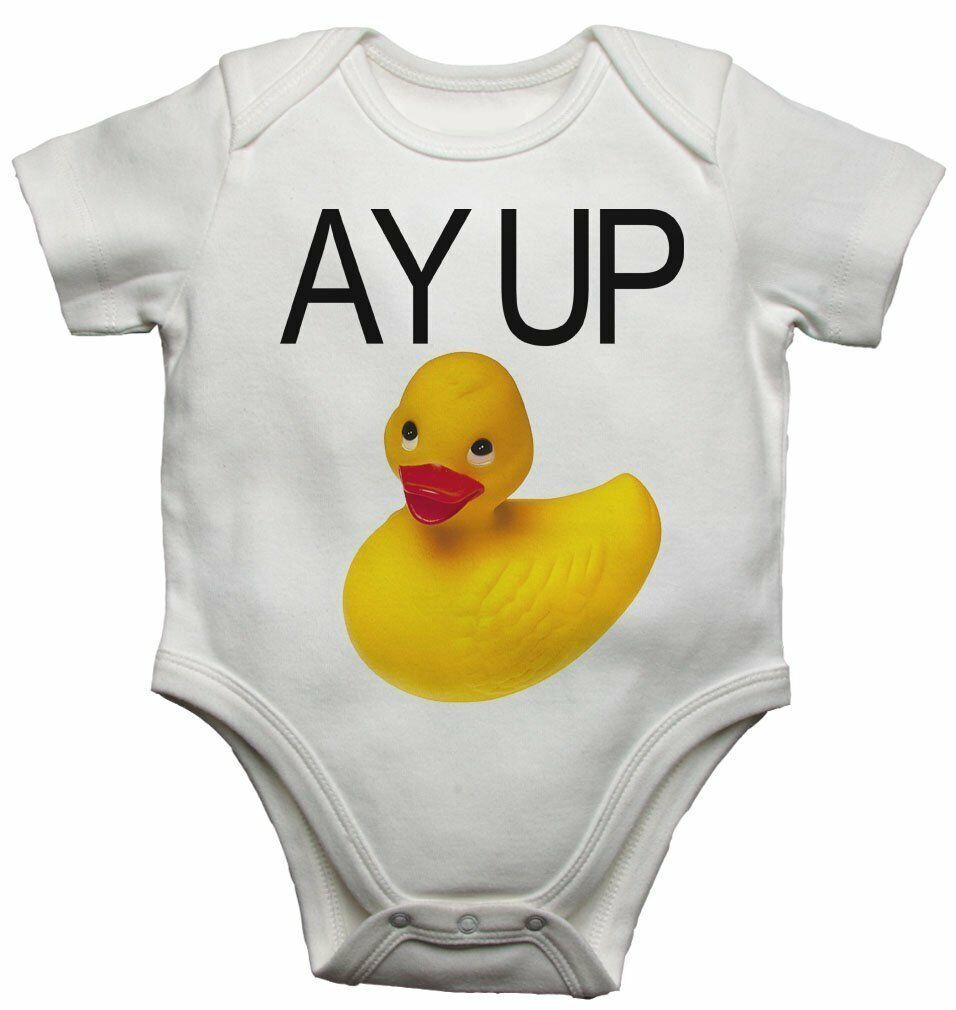 New Baby Vest Bodysuit Funny Ay Up Duck Yellow Rubber Duck for Boys and Girls