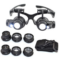 10/15/20/25X Lens LED Magnifier Glasses Loupe Watch Jeweler Repair Magnifying
