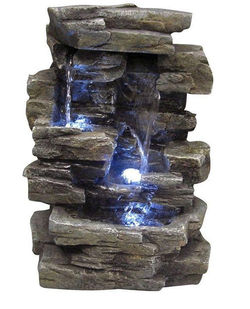 Indoor Tabletop Water Fountain Alpine LED Lights Stone Rock Garden ...