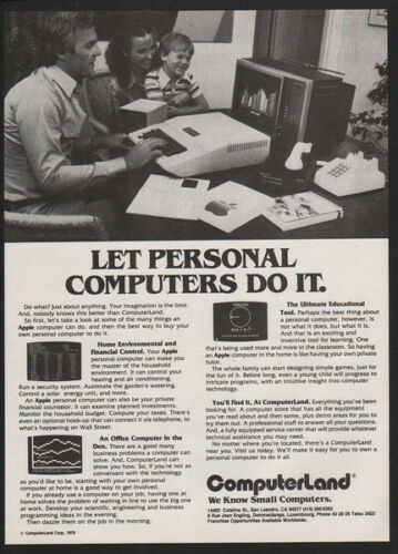 1979 COMPUTERLAND Computer Store APPLE Computer VINTAGE AD Dial-Up Modem