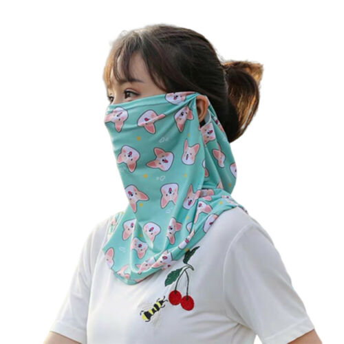 Details about  /KF/_ Women/'s Summer Floral Print Ice Silk Sun Protection Neck Scarf Face Shield