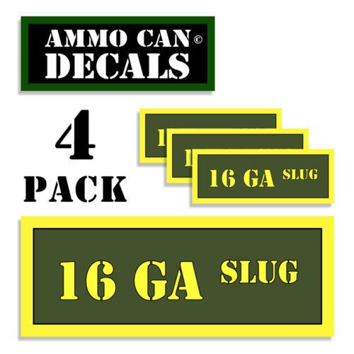 16 GA SLUG Ammo Can 4x Labels  Ammunition Case sticker decals 4 pack 3x1.15 AG
