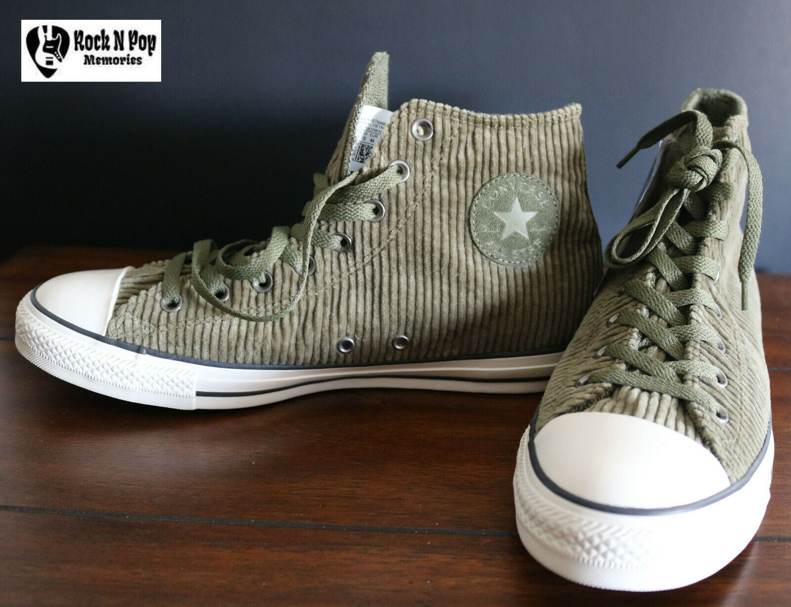 Mens Converse Chuck Taylor All Star Hi Trainers Corduroy Green Olive 162723C
