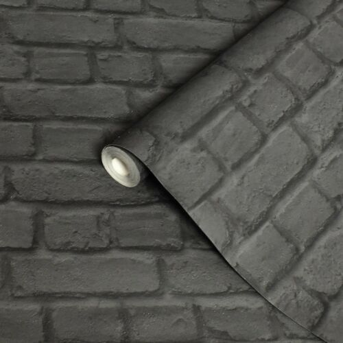 Brick Effect Wallpaper Black /& Grey Textured