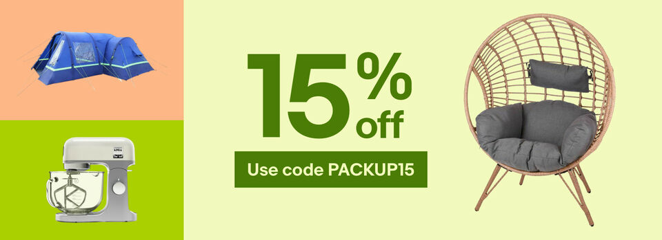 Use code PACKUP15 - Holiday at home with 15% off