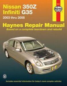 2003 2008 nissan 350z infiniti g35 haynes repair service workshop rh ebay com 2007 Nissan 350Z 2004 Nissan 350Z