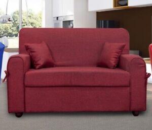 Divano-2-posti-Mini-Estasi-tessuto-rosso-con-2-cuscini-L-125-cm-piccoli-spazi