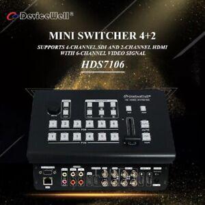 New Devicewell Hds7106 Mini Switcher Hd Video 4 Sdi 2 Hdmi Inputs Multi View Ebay