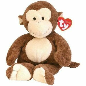 2002 Ty Pluffies 10 Inch Beanie Dangles Brown Monkey Plush Stuffed