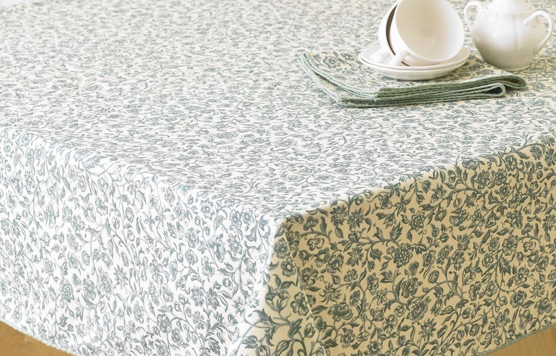 William Morris Merton Green 132cm x 178cm  Cotton Floral Tablecloth.
