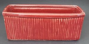 Vintage McCoy USA Art Pottery Planter Maroon Red Rectangle
