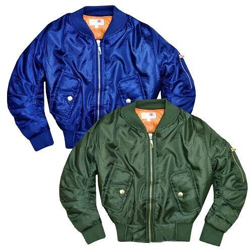 Minx New Girls Kids Bomber Coat Jacket Navy Blue Khaki Green Age 5 6 7 8 9 10 11 12