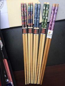 Japanese 5 Variations Blue And White Chopsticks OR Hairsticks WFree Handmade Silk Holder