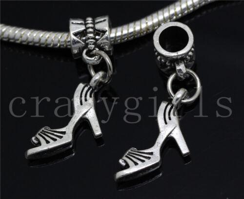 6//30//100pcs Tibetan Silver 3D High Heel Bulk Dangle European DIY Charms Bracelet
