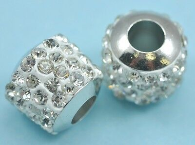 5x Crystal Pave Clay Cylinder Slider Spacer Beads for Snake Chain Charm Bracelet