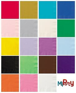 20-Solid-Colour-Lunch-Napkins-6-5-x-6-5-Beverage-Napkins-5-x-5-Various-Colours