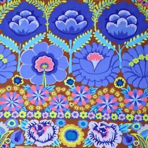 44-034-Remnant-Kaffe-Fassett-Lge-Scale-Embroidered-Flower-Border-PWKF001-Blue-Fab