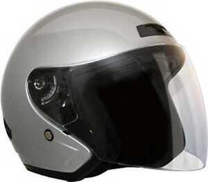 HCI Silver Fiberglass 3/4 Open Face Motorcycle Helmet w/Face Shield 20-230