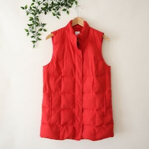 J-Jill-Women-039-s-Zip-Front-Side-Pockets-Down-Puffer-Vest-S-Small-Red