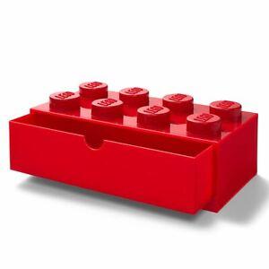 Lego-Brique-Rangement-Bureau-Tiroir-8-Boutons-Geant-Construction-Bloc-Rouge