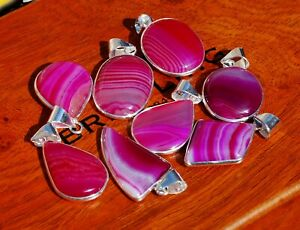 Pcs-Lot-Natural-Pink-Lace-Botswana-Agate-Gemstone-925-Sterling-Silver-Pendants