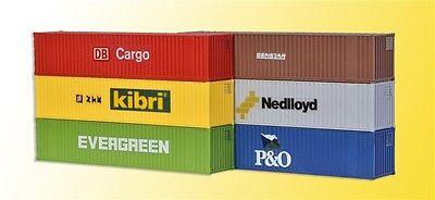 Kibri 10922 Scala H0, 40-fuß-container, 6 Pezzi # Nuovo In Scatola Originale #
