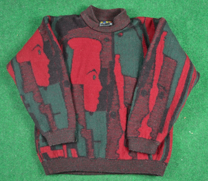 Rare 80s Coogi Faces Wool Sweater Pullover Gucci … - image 1