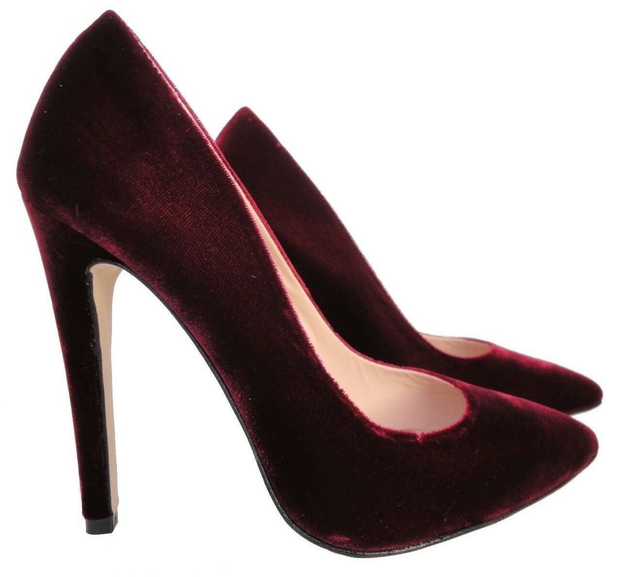 CQ COUTURE ITALY HIGH HEELS POINTY PUMPS SCHUHE DECOLTE VELVET RED BOURDEAUX 36
