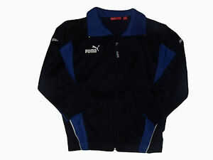 Let Our Commodities Go To The World ag4/12 Boy's Puma Long Sleeve Running Jacket Casual Top In Blue/blue Panels