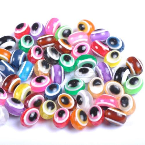 100Pcs Acrílico color mezclado mal de ojo Oval suelta espaciador perlas 8X10MM A2340
