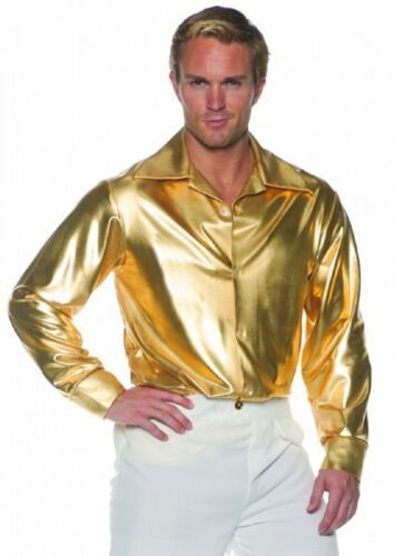 21.3ms-24.4ms Disco Hemd Herren Silbern oder Gold Poly Stretch Metallisch Stoff