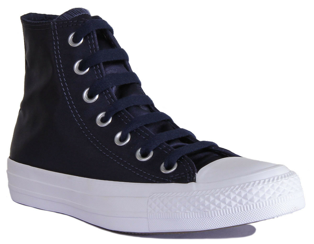 Converse High Chuck Taylor All Star High Converse Top Womens Navy Satin Canvas Trainers Size 3 c3a3c6