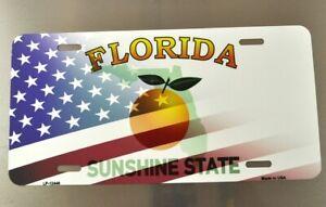 USA Florida Orange Flagge Nummernschild License Plate Deko Blechschild