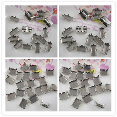 Jewels's silver gray empty claw Settings For rectangle glass rhinestones Sew on
