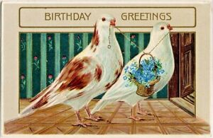 Antique-GEL-BIRTHDAY-Postcard-DOVES-CARRY-BASKET-FORGET-ME-NOT-FLOWERS-Germany