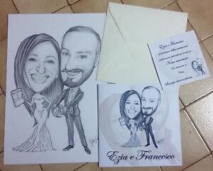 Partecipazioni Matrimonio Personalizzate.60 Partecipazioni Matrimonio Caricatura Sposi Inviti