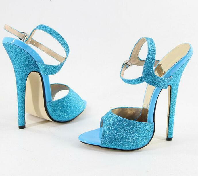 Femmes Talon Haut Talon Aiguille Cheville Bretelles Paillettes Sandales Femmes Chaussures à bout ouvert