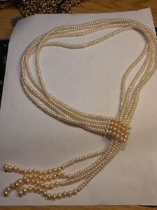 Vintage-4-Strand-White-amp-Pink-Cultured-Pearl-Lariat-Necklace-100s-of-real-pearls