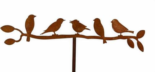 5 Vögel auf Zweig Edelrost Rost rostige Gartendeko Gartenstecker Rankstab