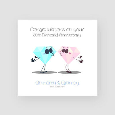 Husband-Wife Personalised Handmade On Our 60th Diamond Wedding Anniversary Card