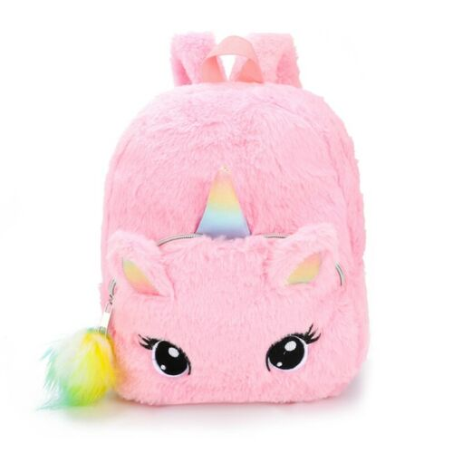 Girls Fluffy Unicorn Backpack Plush School Rucksack Zipper Shoulders IceLu Seja