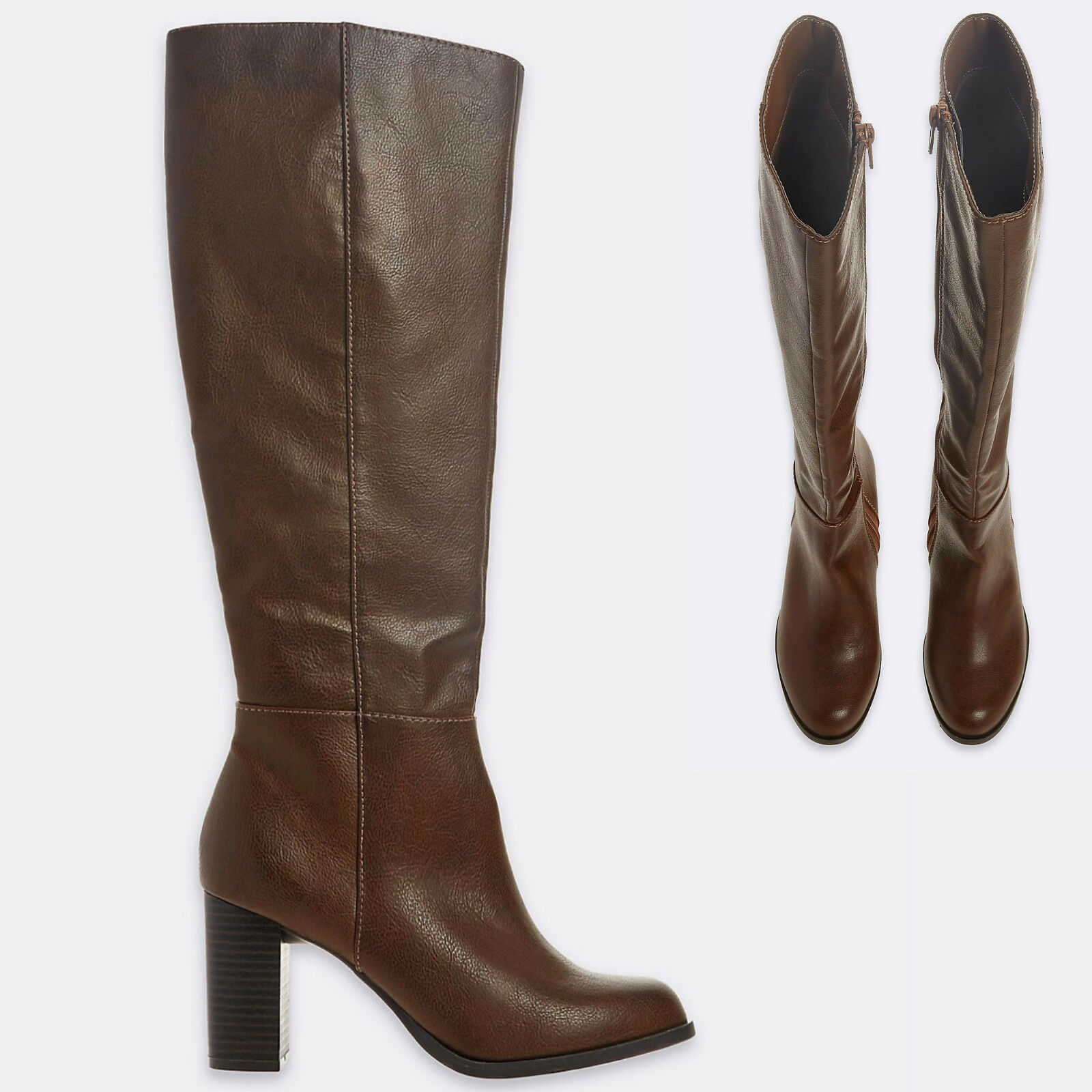 M&S Faux Leather HIGH Heel LONG BOOTS with Insolia  Size 7  DARK TAN